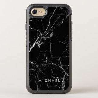 おもしろいな割れた黒い大理石の質の名前をカスタムする オッターボックスシンメトリーiPhone 8/7 ケース