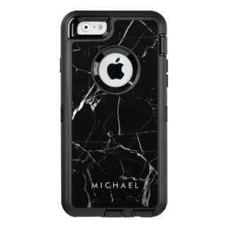おもしろいな割れた黒い大理石の質の名前をカスタムする オッターボックスディフェンダーiPhoneケース