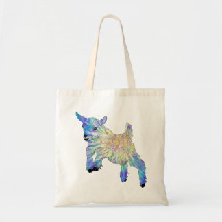 おもしろいな動物の芸術を跳んでいるカラフルでかわいいベビーのヤギ トートバッグ