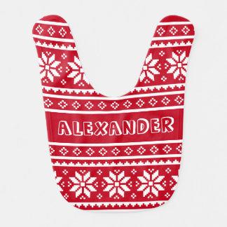おもしろいな北欧のクリスマスのセーターパターンベビー用ビブ ベビービブ