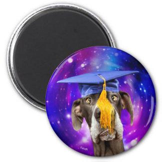 おもしろいな卒業犬の身に着けている帽子 マグネット