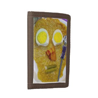 おもしろいな卵およびベーコンの札入れのギフトの誕生日 ナイロン三つ折りウォレット