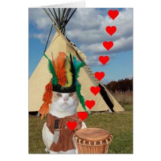 おもしろいな原産のアメリカインディアンの子猫のバレンタイン カード