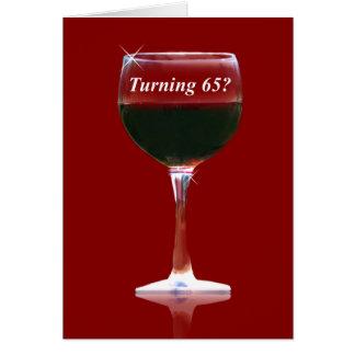 おもしろいな回転65の誕生日のワインカード グリーティングカード