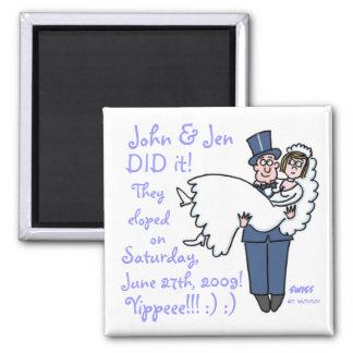 おもしろいな型破りの結婚式の駆け落ちの磁石のテンプレート マグネット