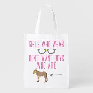 おもしろいな女の子ガラスのおたくのユーモア エコバッグ