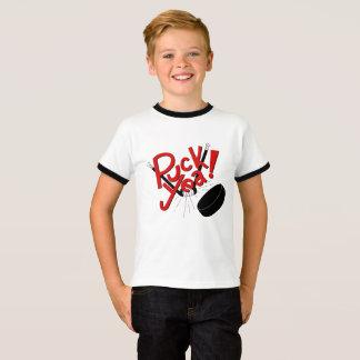 おもしろいな子供のホッケーのワイシャツ Tシャツ