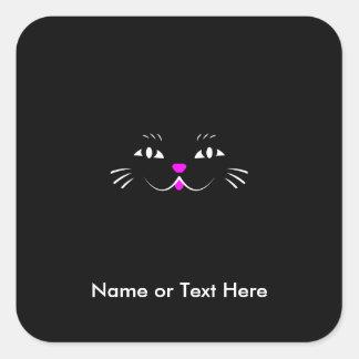 おもしろいな子猫猫の顔 スクエアシール