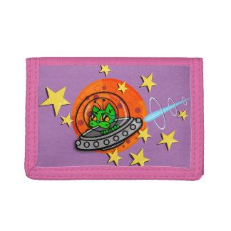 おもしろいな宇宙人の子猫CATの写実的なピンクの財布 ナイロン三つ折りウォレット