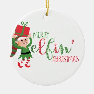 おもしろいな小妖精や小人のメリーなElfinのクリスマス セラミックオーナメント