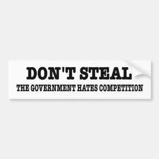 おもしろいな政府の憎悪の競争を盗まないで下さい バンパーステッカー