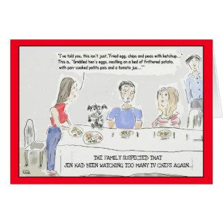 おもしろいな料理の漫画の誕生日の挨拶状 カード