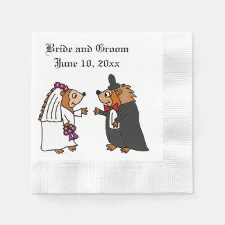 おもしろいな新郎新婦のハリネズミの結婚式の芸術 縁ありカクテルナプキン