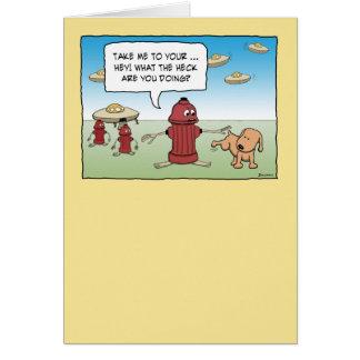 おもしろいな消火栓エイリアンおよび犬 カード