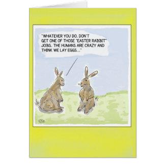 おもしろいな漫画のイースターウサギカード グリーティングカード