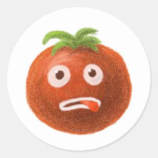 おもしろいな漫画のトマトのステッカー ラウンドシール