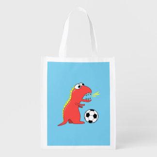 おもしろいな漫画の恐竜のサッカー エコバッグ