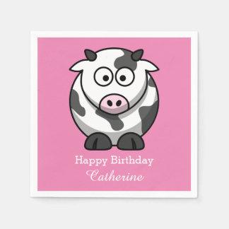 おもしろいな漫画牛ピンクの鼻の習慣の誕生日 スタンダードカクテルナプキン
