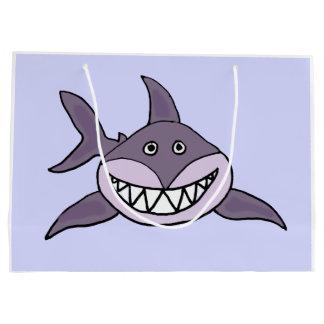 おもしろいな灰色の笑った鮫の漫画 ラージペーパーバッグ