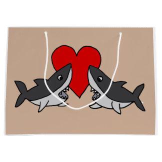 おもしろいな灰色の鮫愛 ラージペーパーバッグ
