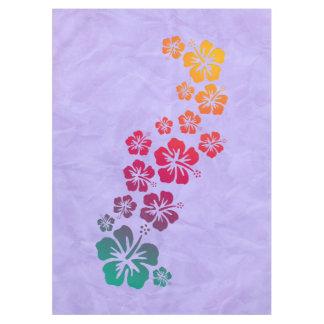 おもしろいな熱帯ハイビスカスの開花 + あなたの背景 テーブルクロス