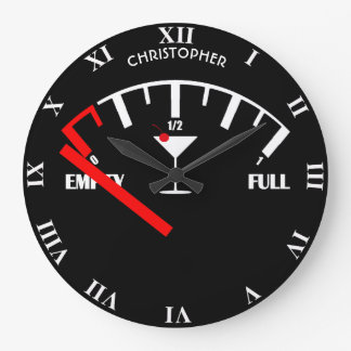 おもしろいな燃料計の飲み物のカクテルグラス ラージ壁時計