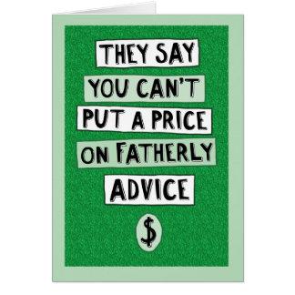 おもしろいな父の日カード: 慈悲深いアドバイス カード