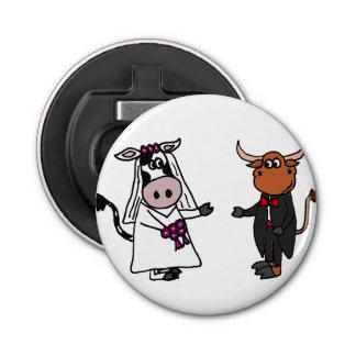 おもしろいな牛およびBullの結婚式のデザイン 栓抜き