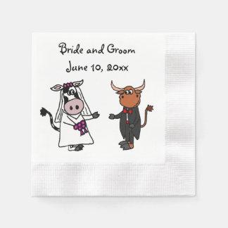 おもしろいな牛およびBullの結婚式のデザイン 縁ありカクテルナプキン