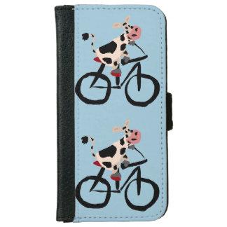 おもしろいな牛乗馬の自転車の芸術 iPhone 6 ウォレットケース