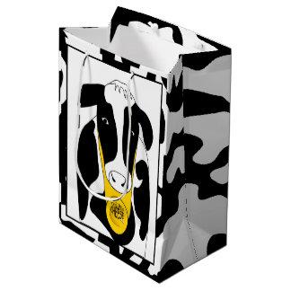 おもしろいな牛大きいチーズボスMGB ミディアムペーパーバッグ