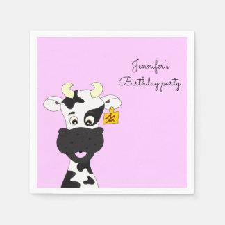 おもしろいな牛漫画のピンクの名前の女の子の誕生日 スタンダードカクテルナプキン