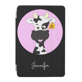 おもしろいな牛漫画のピンクの黒の名前の子供 iPad MINIカバー