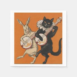 おもしろいな猫およびウサギのパーティのナプキン スタンダードカクテルナプキン