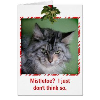 おもしろいな猫のヤドリギのクリスマスの挨拶状 グリーティングカード