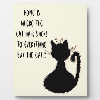 おもしろいな猫の毛の引用文のかわいい黒猫のシルエット フォトプラーク