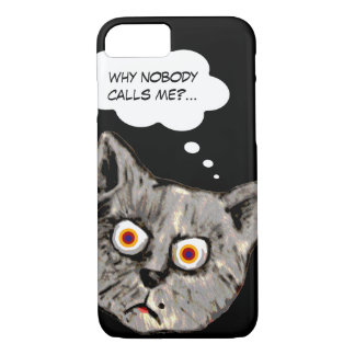 おもしろいな猫の漫画の黒 iPhone 8/7ケース