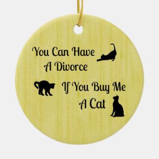 おもしろいな猫の離婚の円形のオーナメント セラミックオーナメント