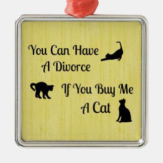 おもしろいな猫の離婚の正方形のオーナメント メタルオーナメント