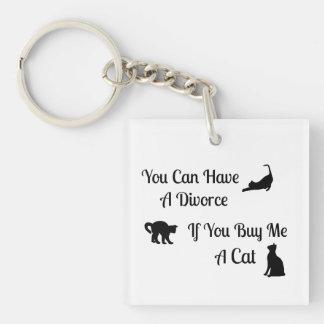 おもしろいな猫の離婚の正方形KeyChain キーホルダー