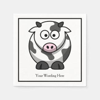 おもしろいな白黒の漫画牛ピンクの鼻の習慣 スタンダードカクテルナプキン