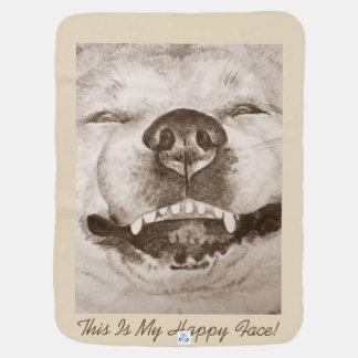 おもしろいな秋田の微笑のポートレートおよびスローガンは犬を設計します ベビー ブランケット