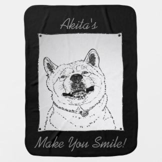 おもしろいな秋田の微笑のポートレートの芸術のデザイン犬 ベビー ブランケット