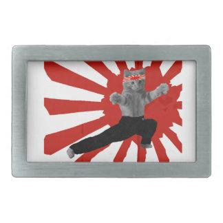 おもしろいな空手の子ネコのギフト 長方形ベルトバックル