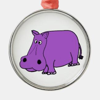 おもしろいな紫色のカバの漫画 メタルオーナメント