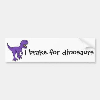 おもしろいな紫色のTレックスの恐竜の漫画 バンパーステッカー