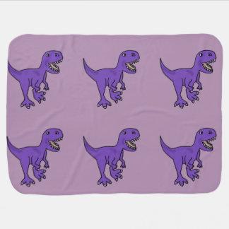 おもしろいな紫色のTレックスの恐竜の漫画 ベビー ブランケット