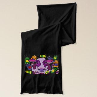 おもしろいな紫色牛およびミルクの抽象美術 スカーフ