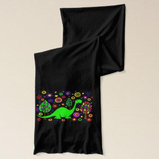 おもしろいな緑のBrontosaurusの恐竜の抽象美術 スカーフ