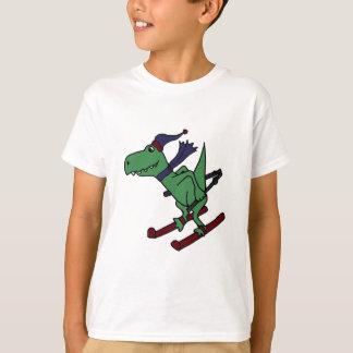 おもしろいな緑のTrexの恐竜のスキー Tシャツ